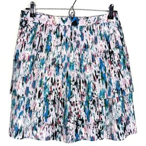 Jcrew Two Tier Pleated Watercolor Floral Skirt H28